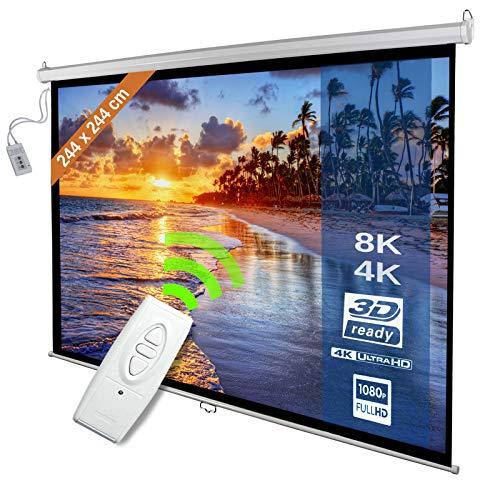 Motorleinwand - 244x244cm, 136 Zoll, 1: 1, 4: 3, 16: 9, HDTV, 8K, 4K Formate, Verstärkung 1,0, Weiß, höhenverstellbar, inkl. Fernbedienung - elektrische Beamerleinwand, Projektionsleinwand, Leinwand