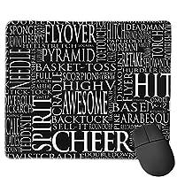 滑り止めマウスマット、Cheerleading Word Cloud In Black Whiteマウスパッドデスクトップ、コンピューター、PC、ラップトップ、オフィスおよび家庭用にカスタマイズ30x25 cm /11.8x9.8インチ