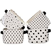 Sea Team Foldable Mini Square New Black and White Theme 100% Natural Linen & Cotton Fabric Storage Bins Storage Baskets Organizers for Shelves & Desks - Set of 4 (Black)