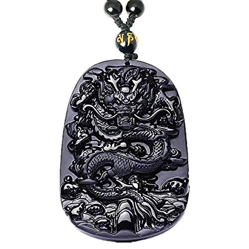 Natural Obsidian Dragon Jewelry Necklace, Healing Crystal Gemstone Carved Pendant, Fortune Health Amulet Charm Spiritual Gift For Men Women