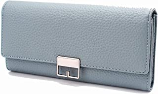 Pusaman New Women's Fashion Simple Buckle Clutch, Long Sections PU Leather tri-fold Wallet (Color : Blue, Size : 19 * 9.3 * 3cm)