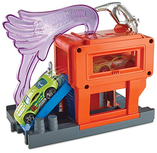 Hot Wheels FRH30 City Express Tankstelle Set, Spielset mit Zapfsäule inkl. 1 Spielzeugauto, ab 4 Jahren