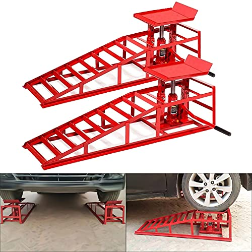 2PCS Auto Car Truck Service Ramps Lifts Heavy 8,800lbs Capacity HD Hydraulic Lift for Vehicle Auto Truck Garage Repair Steel Frame