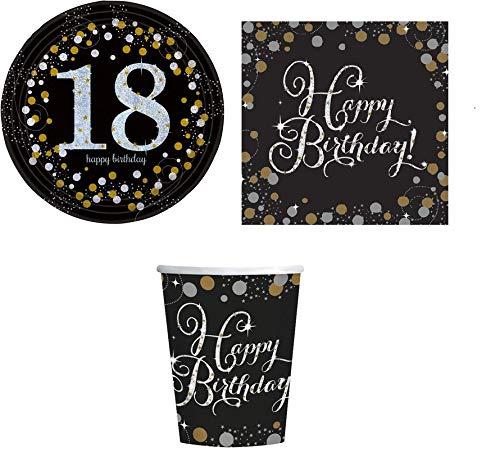 ILS I LOVE SHOPPING Kit Festa Coordinato Tavola Addobbi Party Set Compleanno con 8 Piatti 23cm, 8 Bicchieri e 20 tovaglioli (18 Anni Diciottesimo, Set 8 Persone)