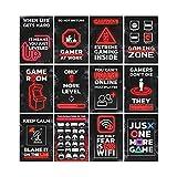 GREAT ART® Gaming Póster Negro Rojo - Juego de 12 piezas - Póster interior niños decoración de pared para videojuegos Gamer Youth Gaming Zone (Din A2 42 x 59,4 cm)