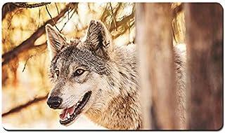 プレデター、森の中のオオカミ、動物がクローズアップ パターンカスタムの マウスパッド 動物 デスクマット 大 (60cmx35cm)