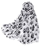 Skull Head Patten Chiffon Silk Scarf Super Cozy and Huge Fashion Wrap and Shawls for Women Accessories Black and White