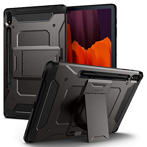 Spigen Tough Armor Pro Designed for Galaxy Tab S7 Plus Case with S Pen Holder (2020) - Gunmetal