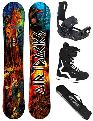 Airtracks Snowboard Set/Board No Fears Carbon Wide Hybrid Rocker 152 + Snowboard Bindung Master + Boots Strong 46 + Sb Bag