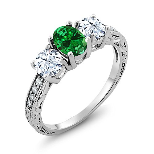 Gem Stone King 925 Sterling Silver Green Simulated Emerald Women's Ring (2.22 Ct Oval) (Size 9)