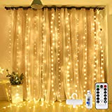 Curtain Light 300 LED, Curtain String Light with 8 Modes Remote Control Timer,Twinkle Lights for Bedroom Christmas Party Home Garden Outdoor Indoor Wall Decorations(Warm White)
