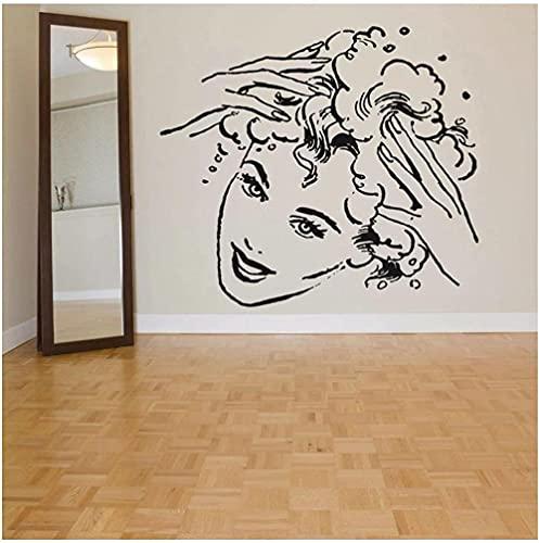 Pegatinas de pared decoración de interiores arte mural cuerpo espejo encantador salón de belleza 65x57cm