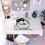 Mantel Antimanchas Rectangular Protector de Mesa Lavable Impermeable Manteles 140X200Cm Mantel Rectangular Adecuado para La decoración de La Cocina - Cuadros Blancos, Doraemon Azul