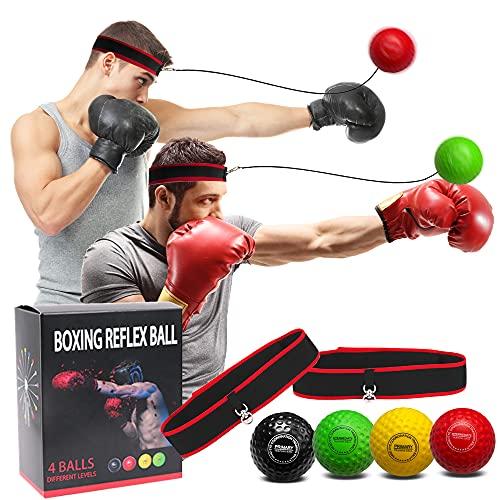 Faletony Boxtraining Ball Boxing reflexball 4 Bälle + 2 Stirnbänder MMA-Geschwindigkeitstraining Boxball für Auge-Hand-koordinationstraining Boxtraining Trainingsgerät