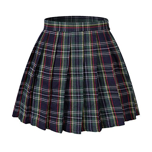 Women`s A-line Pleated Stripe Plaid Summer Skirt(4XL,Yellow Green red Stripes)