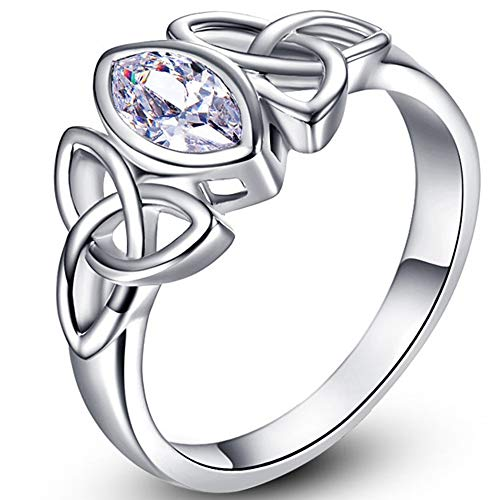Jude Jewelers White Gold Plated Celtic Knot Oval Shape Stone Solitaire Wedding Engagement Proposal Ring… (Clear, 10)
