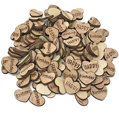 Lot de 500 cœurs en bois de 15 mm avec inscription Happy Birthday