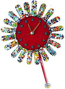 Girasol Millefiori - Reloj de pared con péndulo de cristal de Murano