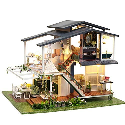 XLZSP DIY Romantische französische Gartenvilla Puppenhaus 3D Holz Montage Modellbausatz mit LED-Licht kreatives Spielzeug für Kinder, Liebhaber und Freunde