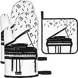 MODORSAN Inspirierende Piano Wit Ofenhandschuhe und Topflappen 504 Stück Set Küchenofen Handschuh und Topflappen rutschfest zum Kochen Backen Grillen - als Farbe-Eins-Größe