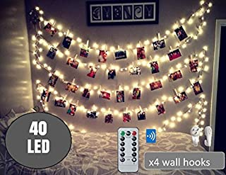 BestCircle 40 LED Photo Clip String Lights 20 Ft, Remote Control,Free Wall Hooks, USB Powered, Warm White, Timer, Christmas Card, Decoration, Wedding, Party, Christmas Lightings