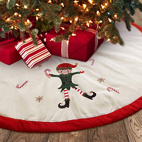 Meriwoods Christmas Tree Skirt 48 Inch, Large Embroidered Elf Padding Tree Collar, Country Rustic Indoor Xmas Decorations, Red & White
