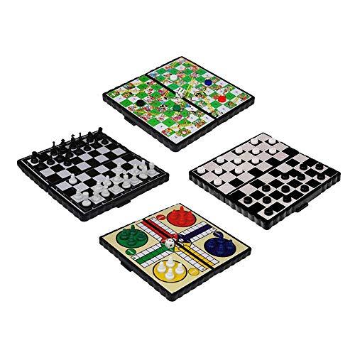 JJPRIME WSS - 4 in 1 Schach / Ludo / Schlange und Leiter/Damespiel/Magnetisch Reise Brettspiel