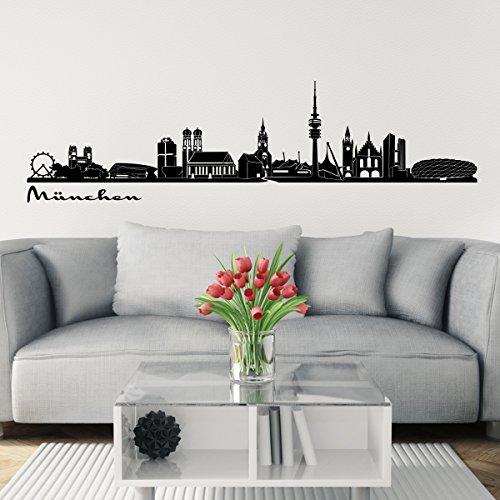 Wandkings Skyline - Deine Stadt wählbar - München - 125 x 28 cm - Wandaufkleber Wandsticker Wandtattoo