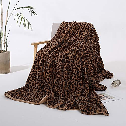 XDXDO Manta de Lana de Franela, Luminosa y cómoda, Colcha de Microfibra de Lujo, 160x200 cm, Manta de Cama, Silla de sofá Manta (patrón de Leopardo Gris),A,160x200