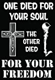 Jesus Soldier Soul Freedom Christian Car Truck Window Bumper Vinyl Graphic Decal Sticker- (6 inch) / (15 cm) Tall GLOSS WHITE Color