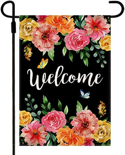 Doncida Welcome Flower Spring Garden Flag Double Sided Watercolor Flowers Rose Peony Butterfly product image