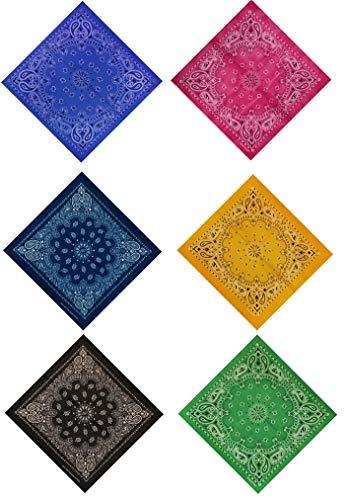 DAUCO Bandana bindetuch 100% coton Bandanas Original Paisley Multicolore Cheveux Bandeau Bandannas Foulard Fichu Mouchoir Echarpe Homme et Femme