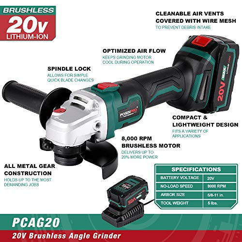 Cordless Angle Grinder,POSENPRO 20V 5-Inch Brushless Cut-off Tool/Angle Grinder with 4.0Ah Lithium-ion Battery,Max 8000RPM,2-Position Auxiliary Handle,Fast Charger