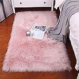 Sweetwill Faux Lammfell Schaffell Teppich 50 x 150 cm Modern Wohnzimmer Teppich Flauschig Lange Haare Fell Optik Gemütliches Schaffell Bettvorleger Sofa Matte (Rosa, 50 x 150 cm)