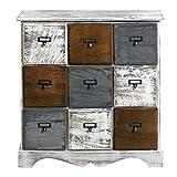 Rebecca Mobili Meuble de Rangement 9 Tiroirs, Caisson Blanc, Bois, Shabby Chic, Chambre a Coucher Salon - Dimensions: 62 x 60 x 22 cm (HxLxL) - Art. RE4077