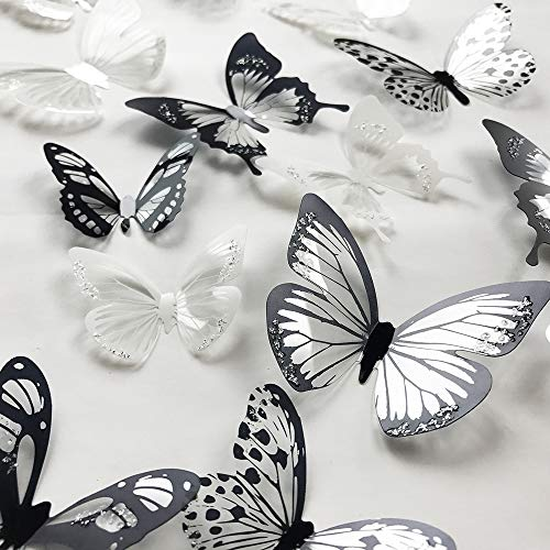 36 PCS 3D Colorful Crystal Butterfly Wall Stickers with Adhesive Art Decal Satin Paper Butterflies Baby Kids Bedroom Home DIY Decor Removable Sticker (Black and White)