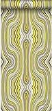 carta da parati stampa alla seta linee grafiche giallo ocra - 347225 - di Origin - luxury wallcoverings