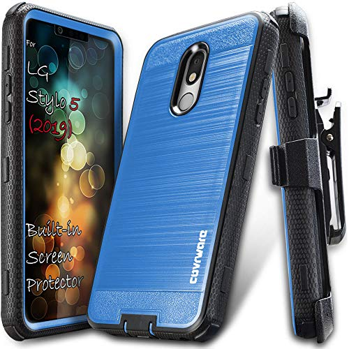 LG Stylo 5 / Stylo 5+ / Plus case, COVRWARE [Iron Tank] Cover w/ [Built-in Screen Protector] Heavy Duty Full-Body Rugged Holster Armor Case (Brush Metal Texture Design) [Belt-Clip] [Kickstand], Blue