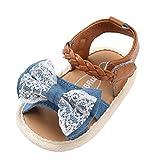 Fossen Sandalias Bebe Verano Antideslizante Suela Blanda Cinta de Trenzado Primeros Pasos Zapatos para Recién Nacido Niña (0-6 Meses, Azul)