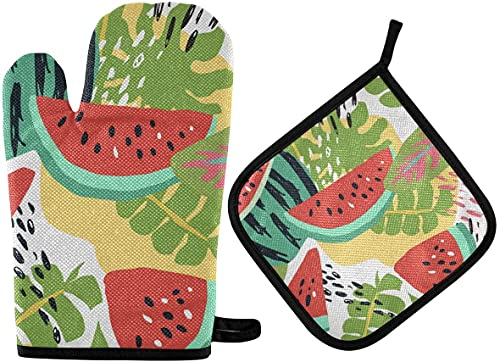 Manoplas y soporte para ollas de sandía con hojas de palma, almohadillas calientes, antideslizantes, resistentes al calor, juego de cocina para cocinar, asar a la parrilla y barbacoa