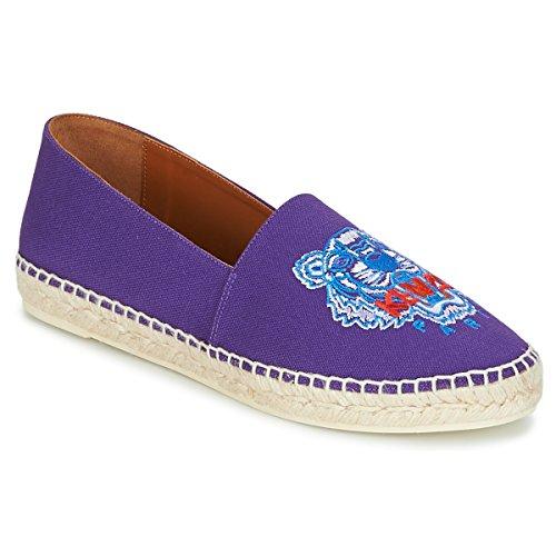 Kenzo Classic Espadrilles Tiger Stoffpantoletten/Espandrillos Damen Violett - 36 - Leinen-Pantoletten Mit Gefloch Shoes