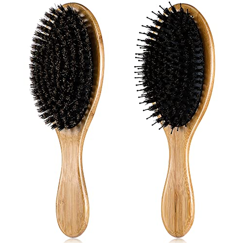 2 Pieces Boar Bristle Hair Brush Nylon Detangling Brush for Thick Long Curly Fine Hair Oval Wooden Soft Natural Bristles Brush Paddle Hair Combs for Men Women Hair Styling Supplies, 2 Styles