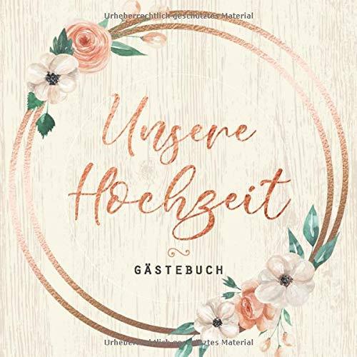 Gästebuch: Unsere Hochzeit: Motiv: Kupfer auf Holz • Hochzeits-Gästebuch mit Fragen und zum...