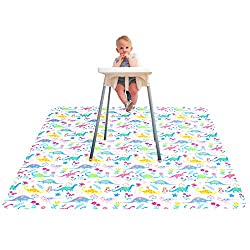 Floral dinosaur high chair splat mat