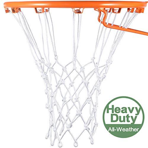 Syhood Basketballkorb Netz Ersatz für jedes Wetter, passend für Standard Indoor oder Outdoor Basketballkorb, 12 Schlaufen (5 Knoten, weiß)
