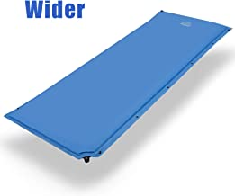 DEERFAMY Wider Self Inflating Sleeping Pad, 27 Inch Super Wide Self-Inflating Camping Foam Pads, 73 x 27 x 1.5 Inch Large Comfortable for Side Sleeper, Connectable for Family Camping, Blue (Blue)