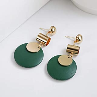 Fashion Earring Wooden Piece Round Drop Earring for Women Black Green Hanging Alloy Earring Jewelry