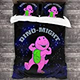 Guwafa8 Dino-Might Buff Barney The Dinosaur Universal Ultra-Soft Down Comforters Cover Pillowcase Home Cozy 3-Piece Bedding Set Quilt Cover Twin 70' X 86'/ 2 Pillowcase Queen 20' X 30'