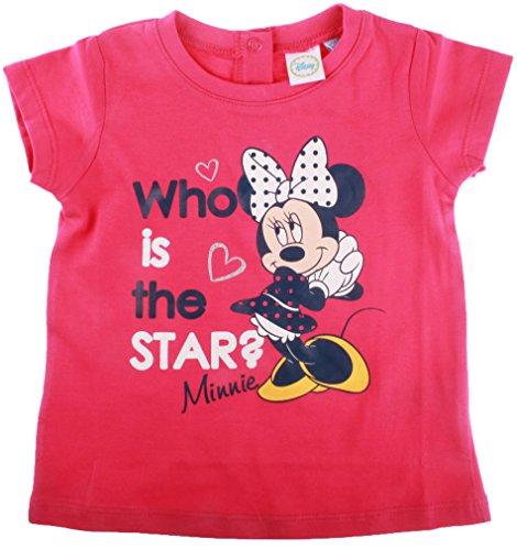 T-shirt bébé fille manches courtes Minnie 'Who is the star?' Rose foncé 12mois
