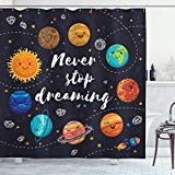Ambesonne Saying Shower Curtain, Outer Space Planets Star Cluster Solar System Moon Comets Sun Cosmos Illustration, Cloth Fabric Bathroom Decor Set with Hooks, 84' Long Extra, Navy Orange